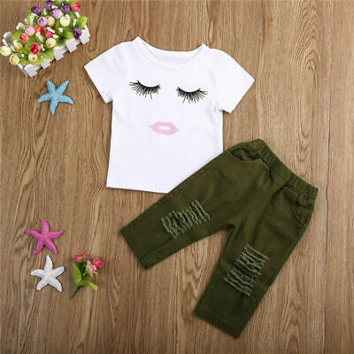18deb9b40 Toddler Kids Baby Girls Short Sleeve T-shirt+Ripped Hole Pants Outfits  Clothes