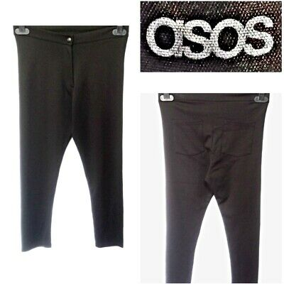 Asos Size Uk 12 Women`s Black 3/4 Leg Cropped Jersey Skinny Trousers #19
