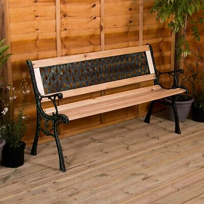 Garden Bench Cross 3 Seater Wooden Outdoor Patio Park Seating Furniture Seat