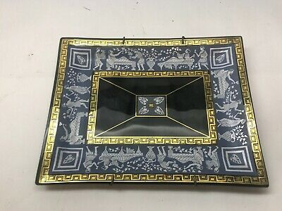 VINTAGE Cera GLASS Black DECORATIVE PLATE Gold Gilt ROMAN GREEK Wall Hanging