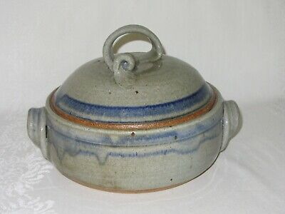 Stoneware Art Pottery Covered Casserole Vintage Blue Gray Drip Glaze Speckled