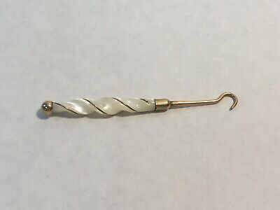 Antique Mother of Pearl Glove Button Hook Twist Handle Design