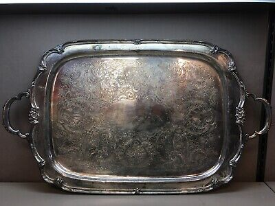 Vintage Heavy Silver Plate Platter 1847 Rogers Brothers Remembrance with Handles