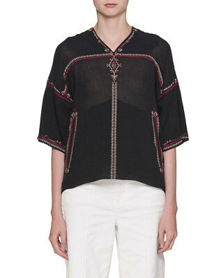 41b07c4527366 ISABEL MARANT ETOILE Vicky Embroidered Top Blouse Ivory Size 36 ...
