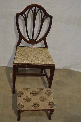 Vintage Antique Wood Floral Design Cotton Felt 40% Chair with Foot Rest With Tag