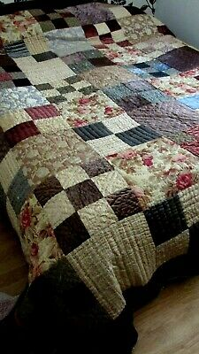Vintage Very Large & Heavy  , Hand Made Patchwork Quilt . Velvet Satin`s Cotton