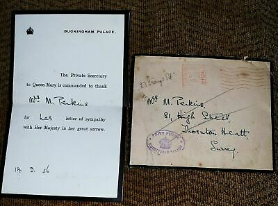Queen Mary Buckingham Palace Mourning Letter For Death Of Hm King George V Royal