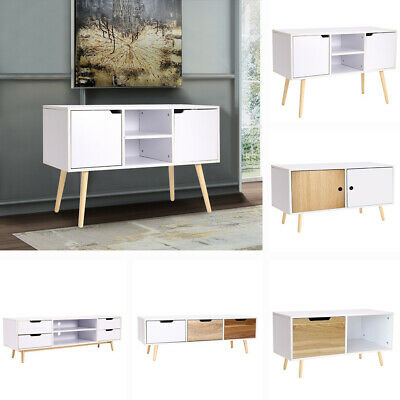 Wooden TV Cabinet End Coffee Table Sideboard Wall Side Unit with Solid Wood Legs