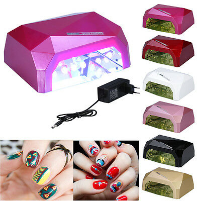 36W LED CCFL Lámpara Gel UV Secador De Uñas Ultravioleta Manicura Nail Dryer EU