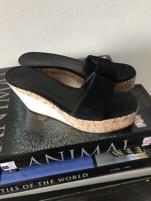 56b6410f7 JIL SANDER WOMEN S BLACK SUEDE SLIDE Sandals Shoes Sz 5  35.5 Italy ...