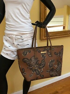 710ecc15df1c Michael Kors Emry Paisley Printed Saffiano Leather Large Tote Bag Luggage  Brown
