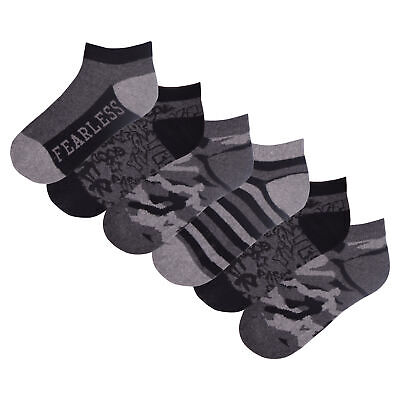 Boys 6 Pack Camo Design Trainer Liners Socks Grey Black Cotton Rich Socks