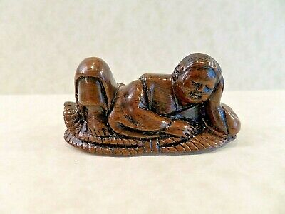 Antique Japanese Hand Carved Ironwood Netsuke Of A Recumbent Person - Signed