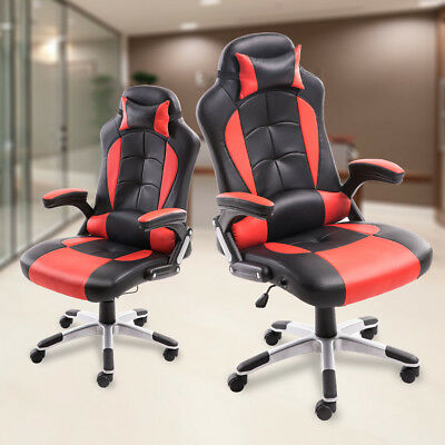 High Back Gaming Office Chair Racing Car Bucket Seat Desk Chair Computer Red