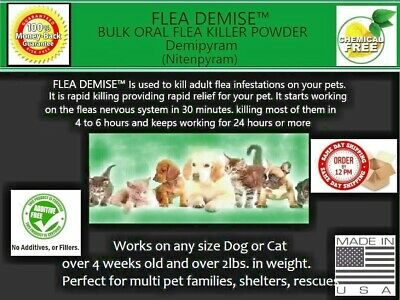 Flea killer 330 doses Bulk oral powder 2gm  Dogs Cats 2 to 12 lbs fast results