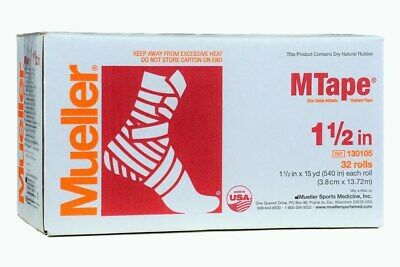 """Mueller M Tape 1-1/2"""" x 15 yd Each Roll 32 Rolls 130105 Athletic Trainers' Tape"""