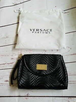 4a71a1ef44 New Versace Parfums Wristlet Pouch Clutch Black Fabric Medium Pouch Dust Bag