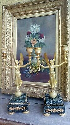 Pair of gold bronze and marble Torcheres candelabra Lamp 19th c EMPIRE NAPOLEON