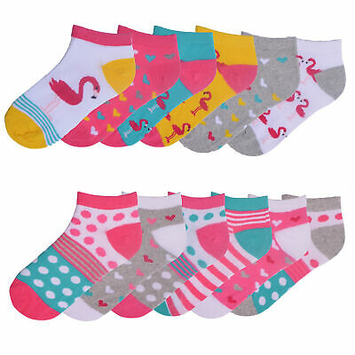 Girls 6 Pack Trainer Liner Socks Flamingo Design Spots Stripes Cotton Rich Pink