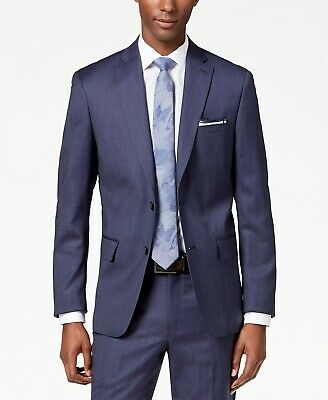 $650 Dkny Mens Modern Fit Blue Wool Blazer Sport Coat Textured Suit Jacket 38 R