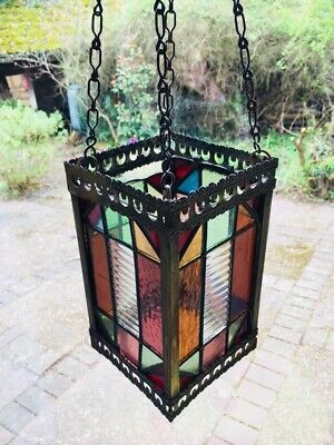 Antique Victorian Large Stained Glass And Brass Lantern Hall Light