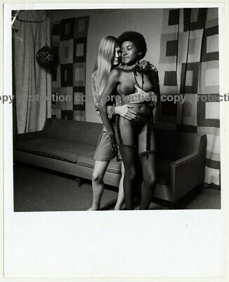 Blonde Embraces Nude Ebony Model / Suspenders - Lesbian INT (Vintage Photo Maste