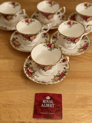 Royal Albert Old Country Roses Set Of 6 Tea Cups & Saucers, 1st Quality, 1962