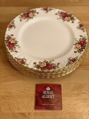 Royal Albert Old Country Roses Set Of 6 Dinner Plates, England, 1962