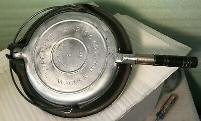 Antique Wagner 1910 Cast Aluminum Waffle Iron w/ Wood Handles & Cast Iron Base