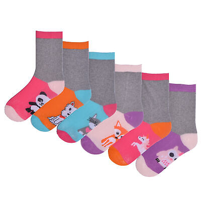 Girls 6 Pack Animal Footbed Design Socks Grey Pink Bright Coloured Cotton Rich