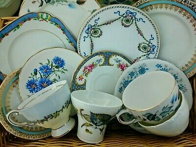 Vintage Mismatched China Trio x4 Tea Cup Saucer Plate Mix & Match Blue