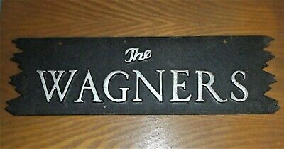 "Two Sided Metal Nameplate THE WAGNERS Outdoor Welcome Sign Ready Hang 15/"" x 4.5/"""