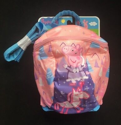 Peppa Pig Unicorn Pink Backpack Rucksack with Reins Bag