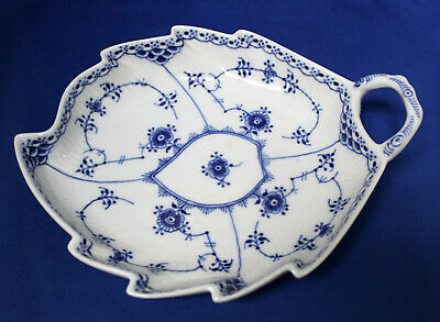 Royal Copenhagen Blue Fluted Half Lace Leaf Shaped Dish #548 1st Quality