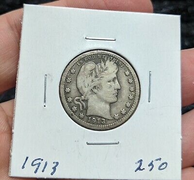 Key Date 1913 Barber Quarter-4 Letters In Liberty #250A