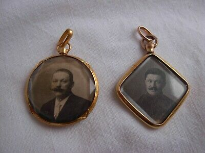 TWO ANTIQUE FRENCH GOLDPLATED METAL PHOTO HOLDER PENDANTS,LATE 19th CENTURY.