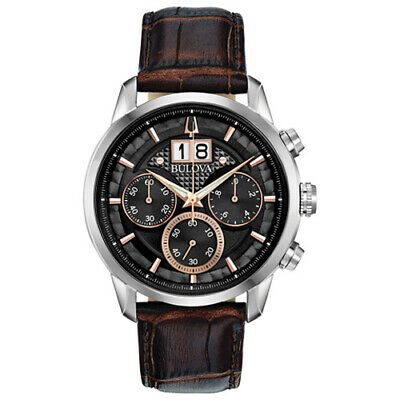 NEW Bulova Men's 96B311 Chronograph Sutton Brown Leather Strap 44mm Watch