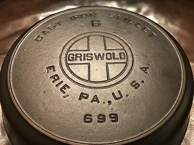 Vintage Griswold #6 Large Block Logo with Heat Ring Cast Iron Skillet