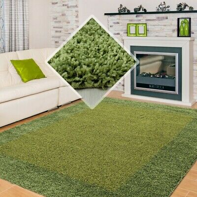 SMALL X EXTRA LARGE THICK 30mm HIGH PILE SOFT NONSHED LIFE SHAGGY RUG-Green