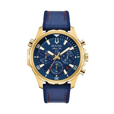 Bulova Men's 97B168 Marine Star Blue Dial Chronograph Leather Strap 43mm Watch