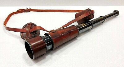 Antique Brown Solid Brass Kelvin & Hughes Telescope Nautical Vintage Spyglass