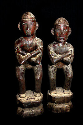 Antique Ifugao 19Th Century Standing Bulul Pair Published Statues; Circa 1870!