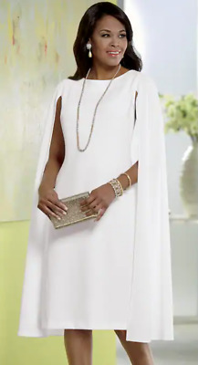 6306654bd Ashro White Formal Wedding Church Victoria Cape Dress Size 10 12 14 16 26W  PLUS