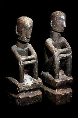 Antique Ifugao 19Th Century Seated Bulul Pair Tribal Used Statues; Circa 1860!