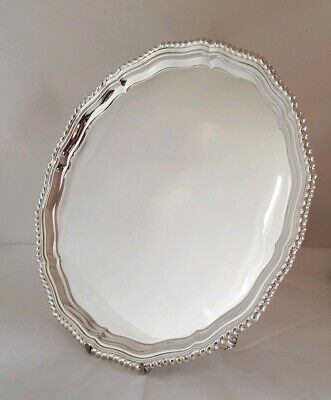 A sterling silver tray / Salver. London 1956. By D & J Welby Ltd .