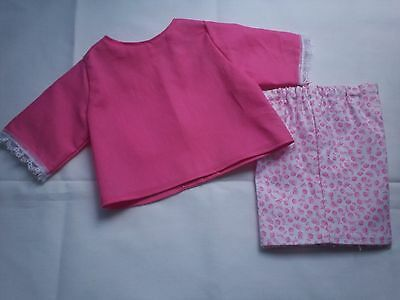"""American Made 18"""" Girl Doll Clothes - Pink Blouse & Pink Flowers on White Shorts"""
