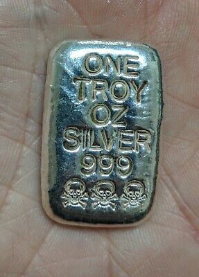 1 Oz 999 Silver Skull And Crossbone Poured Bar  #262A