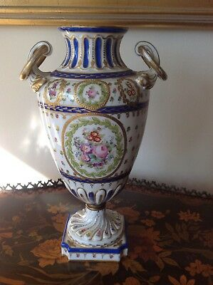 Heavily Decorated Large Sevres or Sevres Style Porcelain Vase Urn