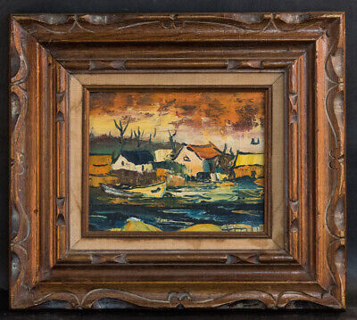"""Small Vintage Canadian Impressionist Original Oil Painting """"Moored Boat"""""""