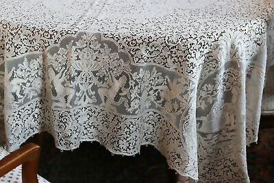 """vintage Quaker Cotton Lace Tablecloth Cherubs & Courting Rare Pattern 98"""" by 64"""""""
